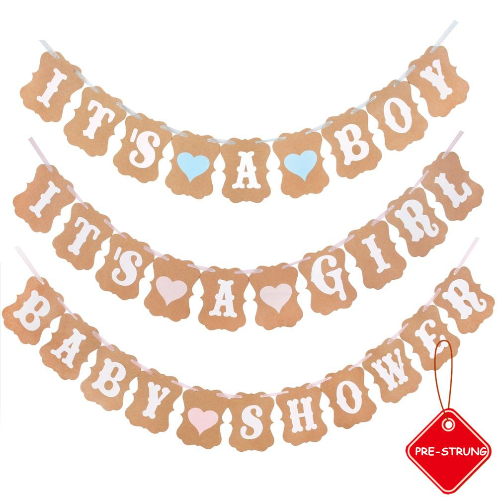 Its A Boy Girl carta rustica Vintage Baby Shower Banner Photo Booth Props Ghirlande Bambini festa di compleanno Hanging Decoration