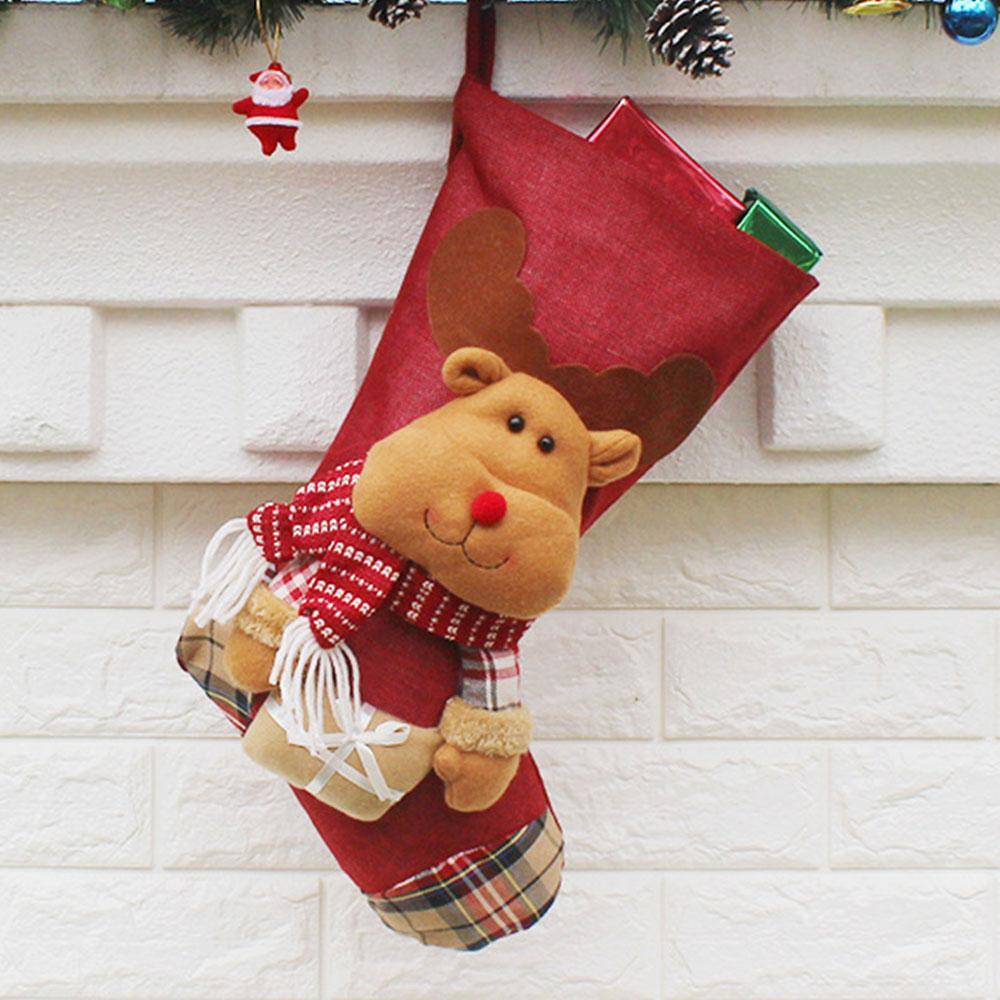 Ornament Haus- Festival Geschenk Candy Bag Weihnachtssocken 2018 Weihnachten hängen Anhänger Schneemann Elk Paket Lagerung Dekoration