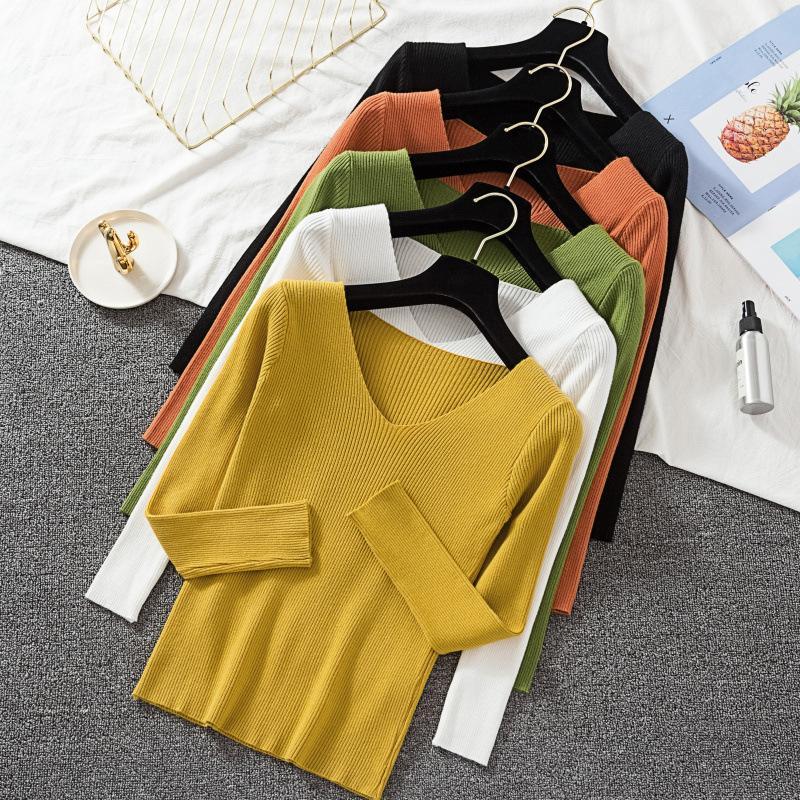 2020 Herbst-neue koreanische Art-dünne dünne Strickjacke-Frauen-Mode sexy V-Ausschnitt Langarm-Knit grundiert Shirt Winter-Frauen Pullover