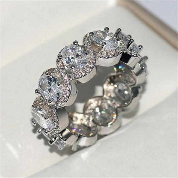 Choucong Moda Vintage jóias reais A685 925 Sterling Silver Princesa Engagement branco Topaz CZ Eternity Diamond Mulheres casamento banda anel