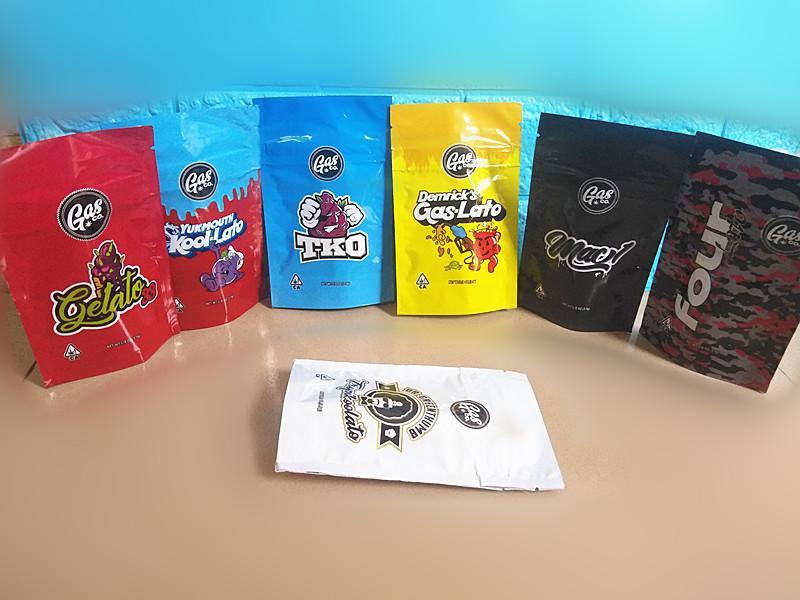 GASCO의 마일 라 가방 소매 패키지 7 종류 드라이 허브 담배 꽃 캘리포니아 가스 공동 파우치 3.5G 1 / 8온스 저장 포장을 서