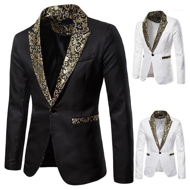 Langarm Revers Ausschnitt Herrenmode Herren Designer Blazer dünne gedruckte Hochzeit Herren Anzüge Single Button