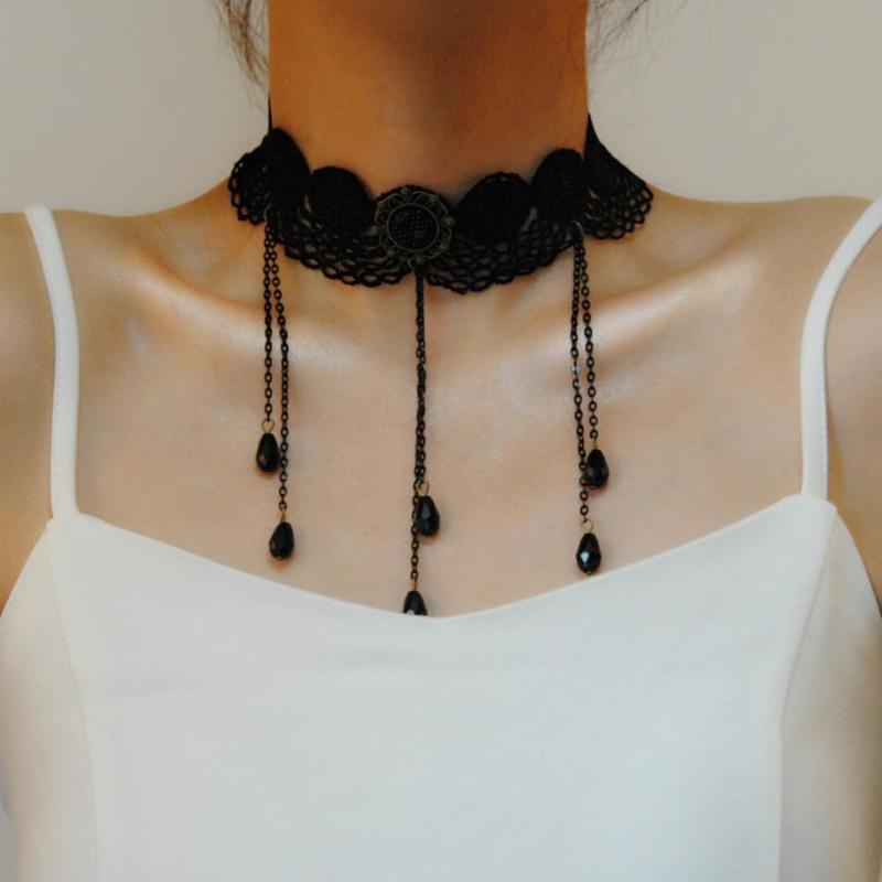 Joyería gótica colgante, collar de cordón de Mujeres Accesorios Gargantilla Collar de la vendimia Collares declaración falsa de cuello