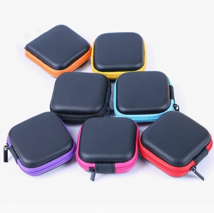 Mini auricular de la caja Auriculares USB de protección del organizador del cable del auricular del hilandero bolsas de almacenamiento de caja de la PU bolsa de cuero SN1348