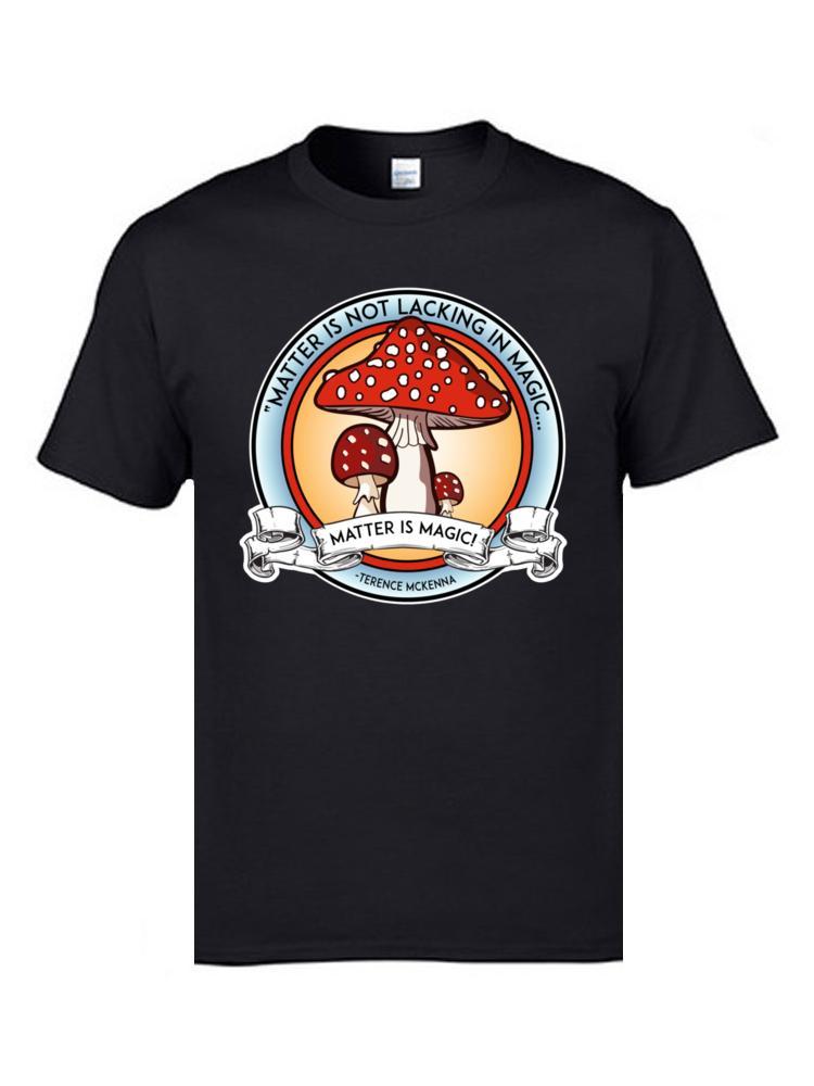 Cosas más extrañas las camisetas para los hombres la materia es magia Negro camiseta de las tapas de setas estrenar 100% camisetas de algodón mejor regalo personalizada