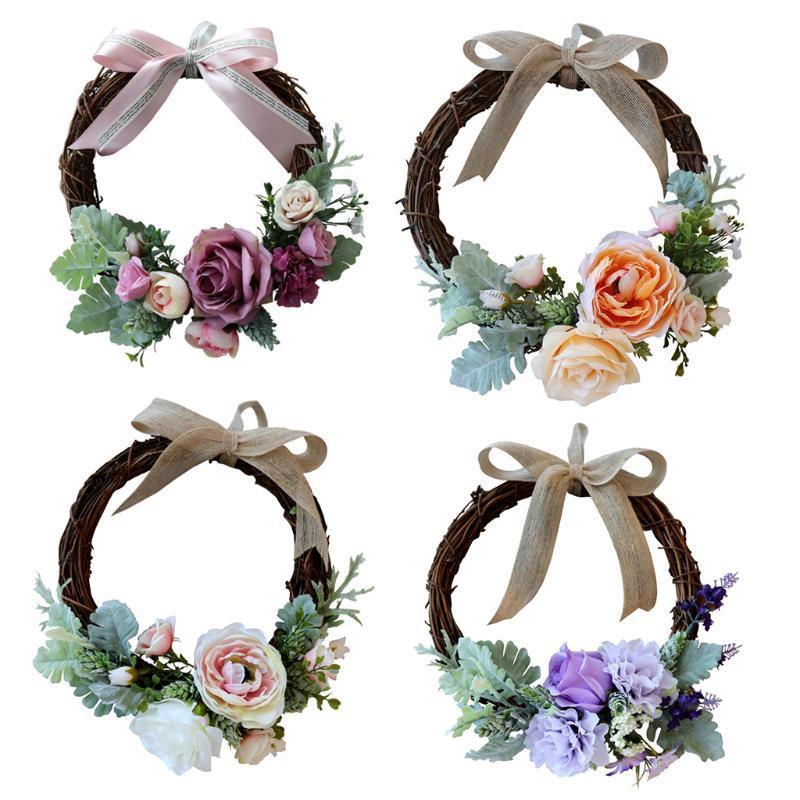 Pack de 4 flor artificial de la rota de la guirnalda de la guirnalda de flores de primavera Frente dintel de la puerta Lugar de la boda decoración de la pared del hogar de la ventana del ornamento
