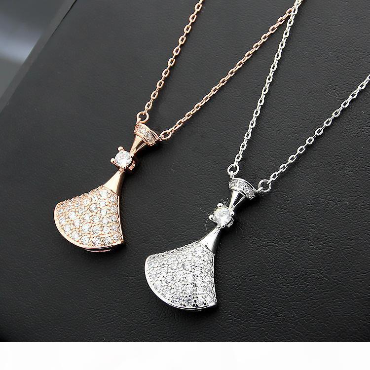 316L сталь титан Классический B письмо юбка дамы полный алмазов ожерелье 18K позолоченный розового золота с алмазными ожерелье длиной цепи 45см