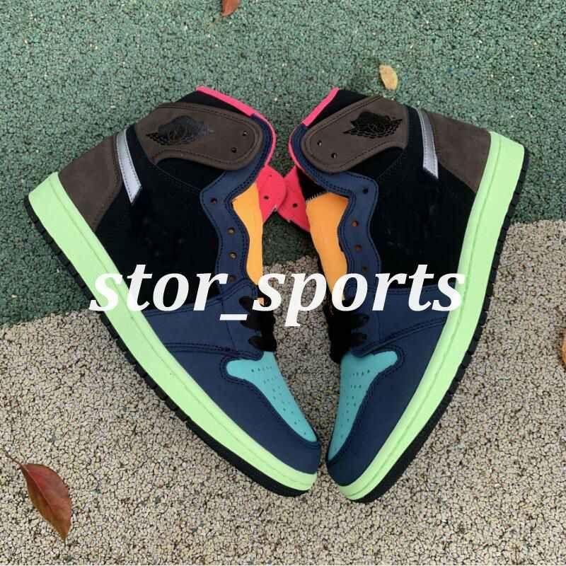 """Yüksek Air Jordan 1 High OG """"Bio Hack"""" 2020 Yeni Sürüm 1s Barok Kahverengi Siyah-Lazer Turuncu-Racer Pembe Erkek Basketbol Ayakkabı Erkekler Spor Tasarımcı Sneakers36-46"""