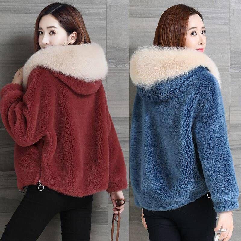 Escudo largo invierno de la piel de las mujeres de alta calidad de la piel de imitación de peluche Escudo de lujo flojo de la solapa de grueso abrigo caliente femenino de la talla felpa Coats T200902