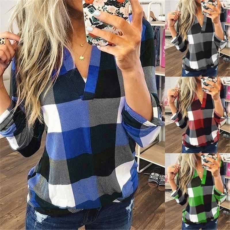 Casual Long Sleeved V-Neck Shirts Womens Fashion Shirts Womens Designer Shirts Plaid Printed Autumn