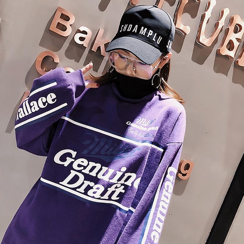 2020 Escudo jersey de lana suelta carta mitad de la longitud del estilo de Corea del otoño y del invierno nueva jersey de las mujeres imprimió la capa larga de la manga i0PTw