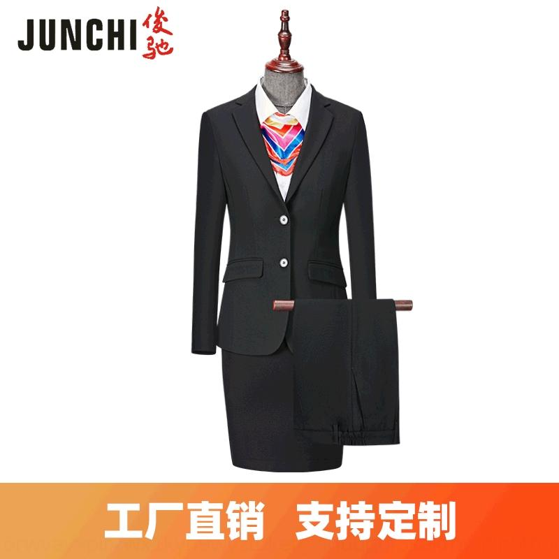 v8COK leisure High-end women's women's professional hLwbd bank business High-end fashion suit hotel office slim V-neck fashion suit