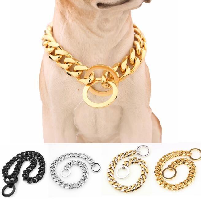 خفض 15mm 316L الفولاذ المقاوم للصدأ مطلية بالذهب الكلب الياقات الكوبية ربط سلسلة قلادة جرو مستلزمات الحيوانات الأليفة الكلب اللوازم