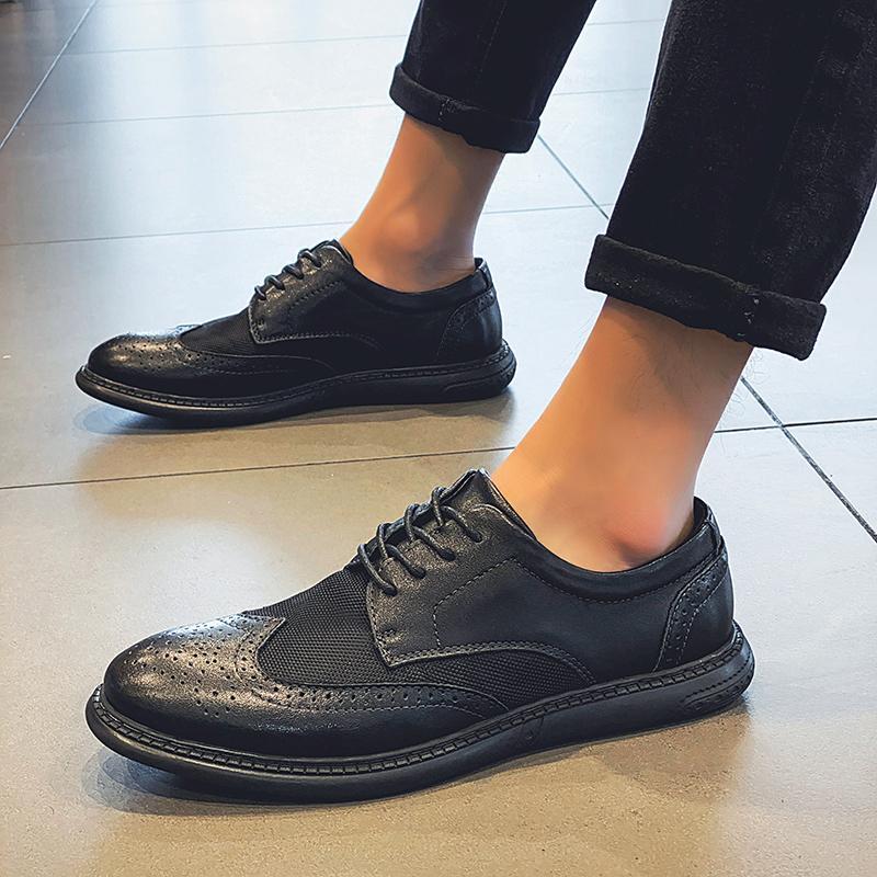 Homens formais couro sapatos da moda + malha Sapatos Homens verão Marca escritório de negócio rendas até casamento Calçado homens