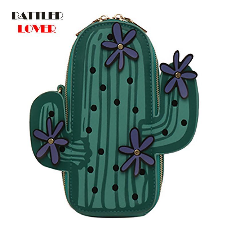 Mobile Pflanzenkaktus Crossbody Green Bags Stickerei für Blume Frauen Mode Mini Ketten Umhängetaschen Kreative Geldbörse Telefon Vbug