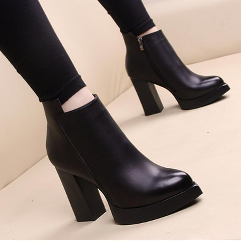 Martin boots Winter Coarse woman shoes lady Desert 100% real leather heel High heels Large size US11 35-42