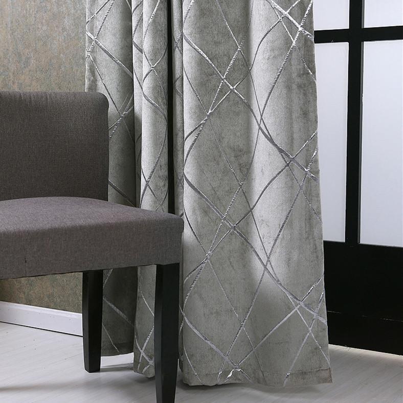 Prata Jacquard Chenille cortinas Blackout Drape para Quarto Home Decor Cortina Cego janela tratamento cortina para sala