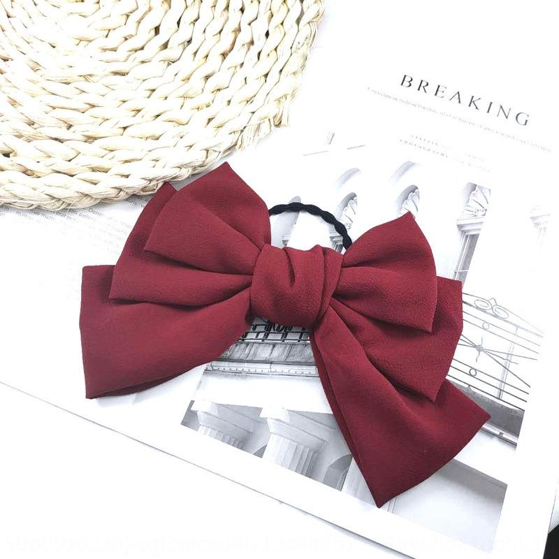 ins Korean three-layer big bow hairpin women's wine red spring side clip Super fairy chiffon top clip hair accessories butterfly butterfly