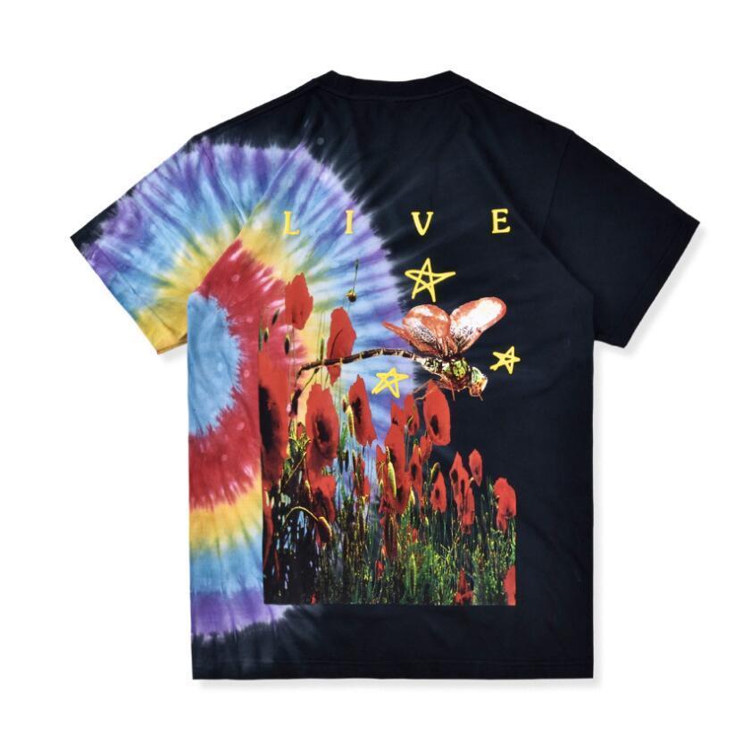 2020 Nueva Travis Scott Merch Europa TourTie tinte del arco iris camiseta de manga corta de la camiseta de alta calidad del envío