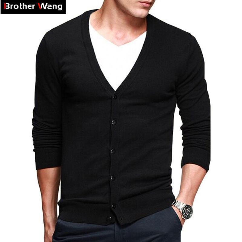 Erkekler Örme Hırka 2020 Yeni Marka Moda Günlük İnce Triko V yaka Pamuk Rahat İnce Örme Ceket Erkek