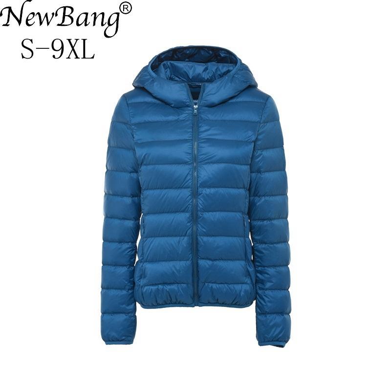 NewBang Плюс Размер 8XL 9XL Ultra Light пуховик Женщины Осень Зима теплых пальто Белой утка куртки Женского Hooded Parka