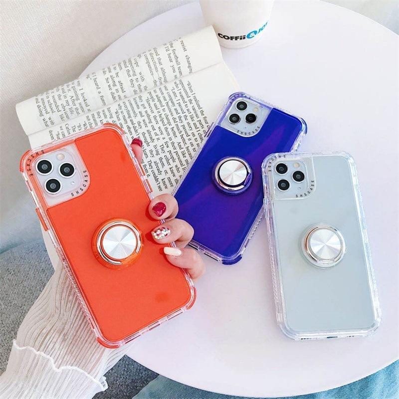 손가락 링 전화 케이스 아이폰 (11) X가 최대 케이스 금박 꽃 실리콘 소프트 커버를 들어 아이폰 XR 7 플러스 8 6 홀더 케이스 6 색 스탠드