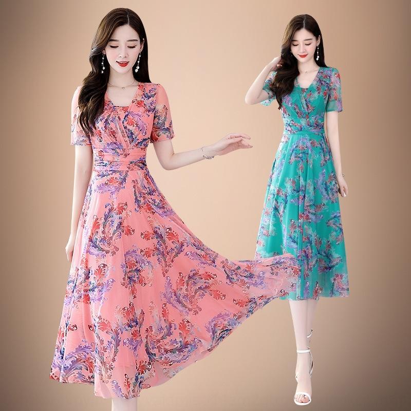 vestido 66Zcw Verano 2020 nuevo vestido de la manera de las mujeres Señora temperamento V-cuello de manga corta vestido de la línea A-
