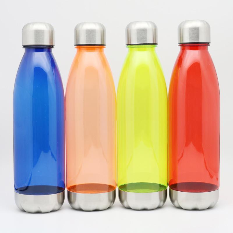 Bottiglie 750ml Sport acquatico Cola di figura della bottiglia di plastica riutilizzabile Pallone con acciaio inossidabile della prova della perdita di torsione al largo di Cap d'acciaio Base