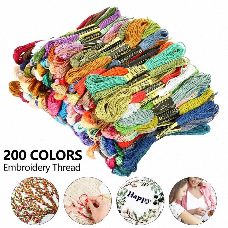 200 cores Linha do bordado Floss Cross Stitch algodão costura Skeins Semelhante ponto-cruz kit DIY Costura Skeins Craft oXTX #