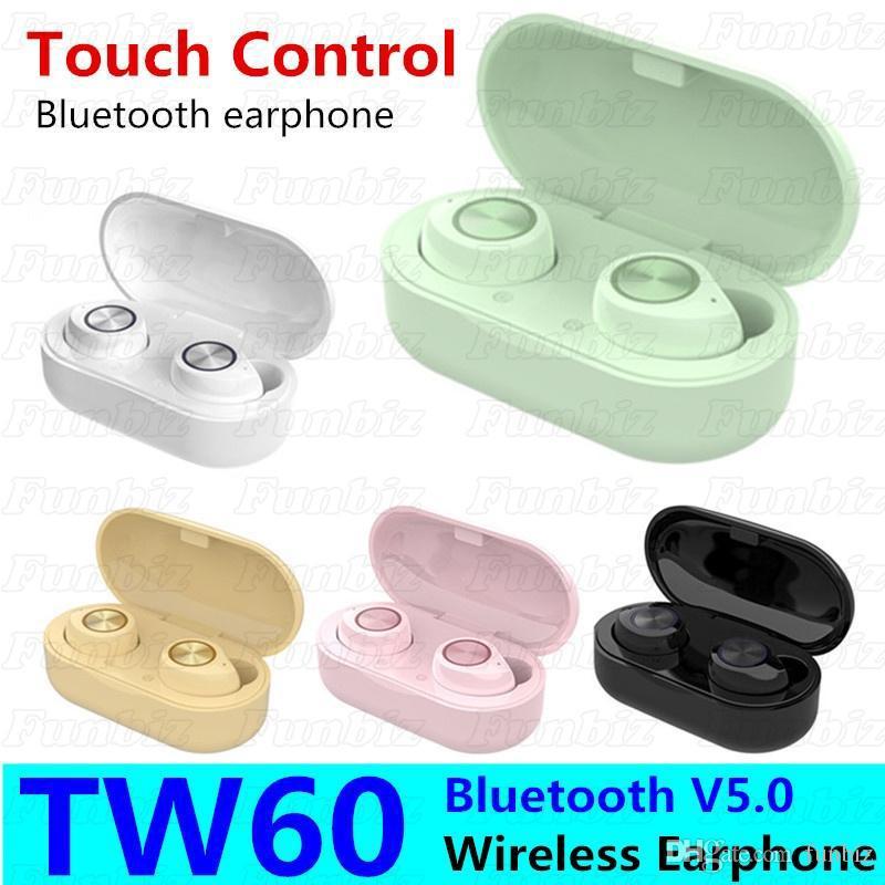 2020 auriculares venta caliente 5Colors TW60 TWS inalámbrica Bluetooth con verdadera auriculares estéreo para el teléfono móvil inteligente