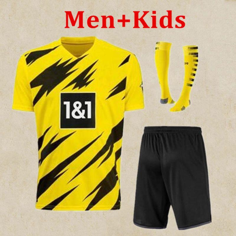 2020 enfants Kit + football jaune Jersey # 17 HAALAND à domicile 20 21 # 7 SANCHO # 11 REUS Enfant maillot de football Dortmund personnalisé avec shorts2