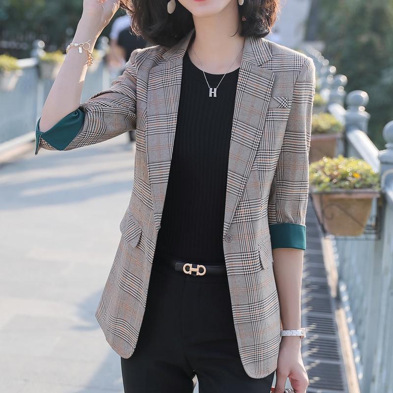 YlCOa 2020 primavera e l'estate nuovo stile coreano di estate nuovi vestiti delle donne coreane celebrità in linea dimagrante tuta casuale medie imprese Plaid
