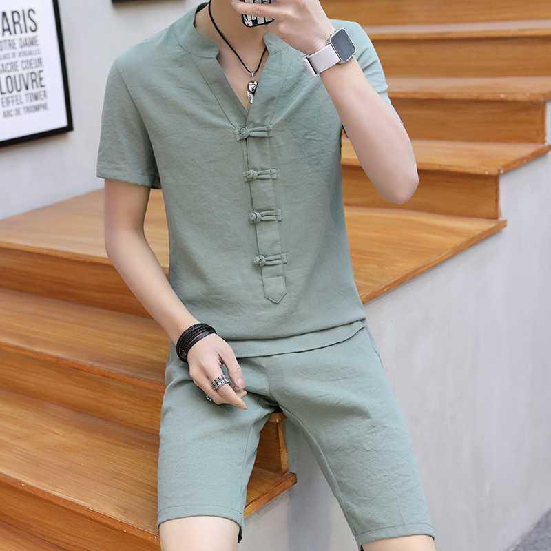 Летняя одежда Мужчины 2 шт наборы VogueShorts И с короткими рукавами Пряжка футболку мужчины дышащий Slim Fit V шеи льняные Подходит