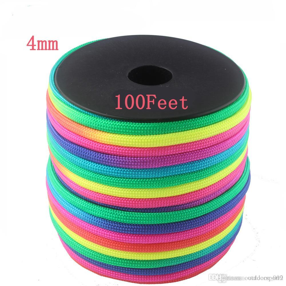 Rainbow Paracord 100FT Spools 4mm 7 Strands Rope 550 parachute cord Cuerda Escalada Mil Spec Type III Paracorde Outdoor