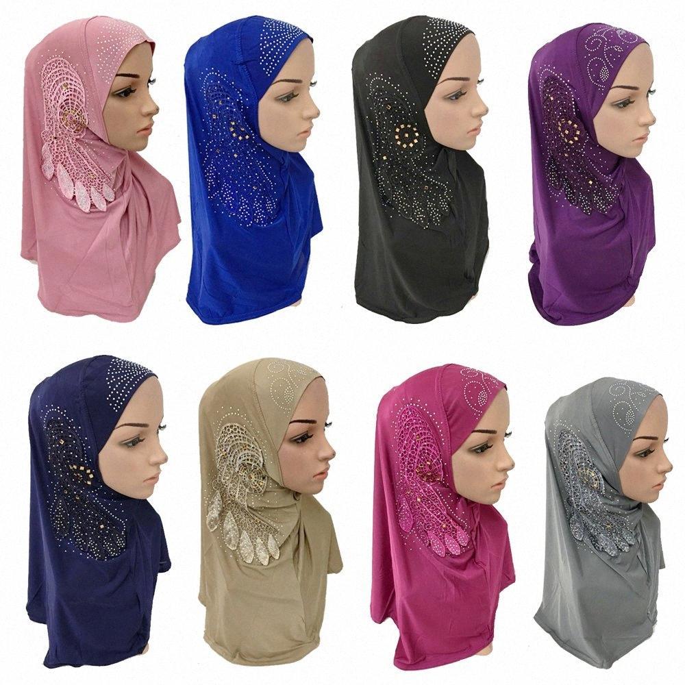 Исламской Мусульманский Женщина Rhinestone Ice Шелкового Хиджаб Исламского шарфы Араб шаль обруч головной убор леди арабский Рамазан Хиджаб Шляпа dQXM #