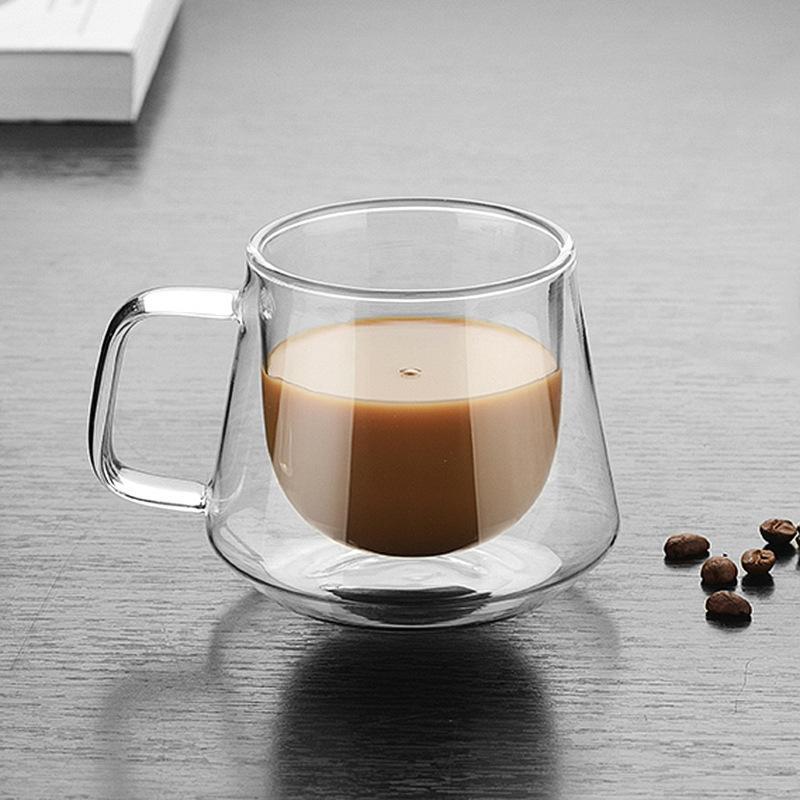 Double couche en verre résistant à la chaleur Diamond Cup isolé Coupe Creative café Ceinture poignée Coupe de haute qualité 2 Styles en option LDH208