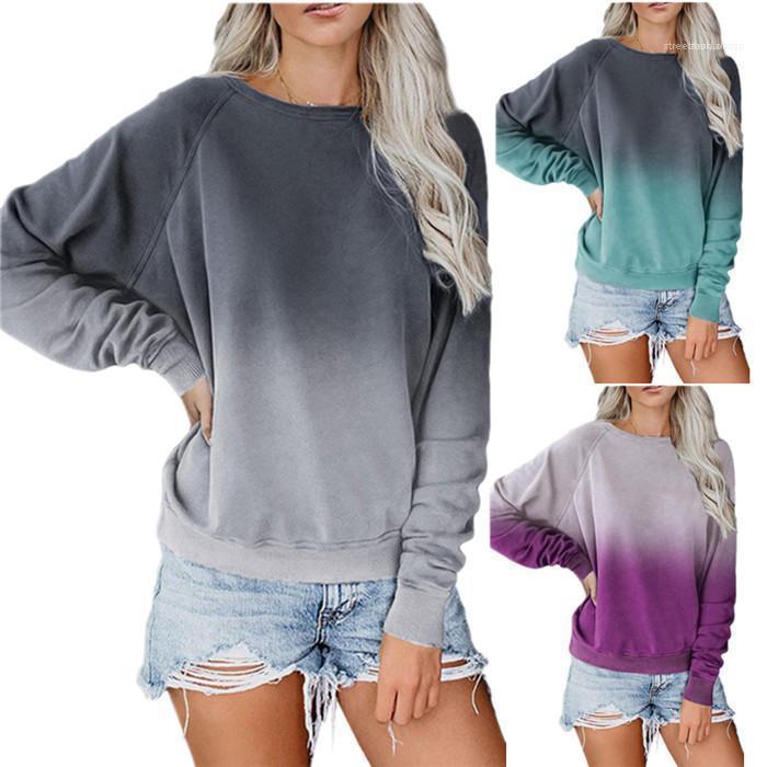 Dames en vrac Top manches longues femmes Gradient Sweats à capuche Équipage Automne Printemps du cou Sweat-shirt décontracté