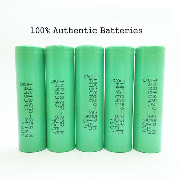 100% Original Samsung 25R 18650 Rechargeable Battery - 30A Max Discharge Fit Box Vape Mod - Tax Free Shipping
