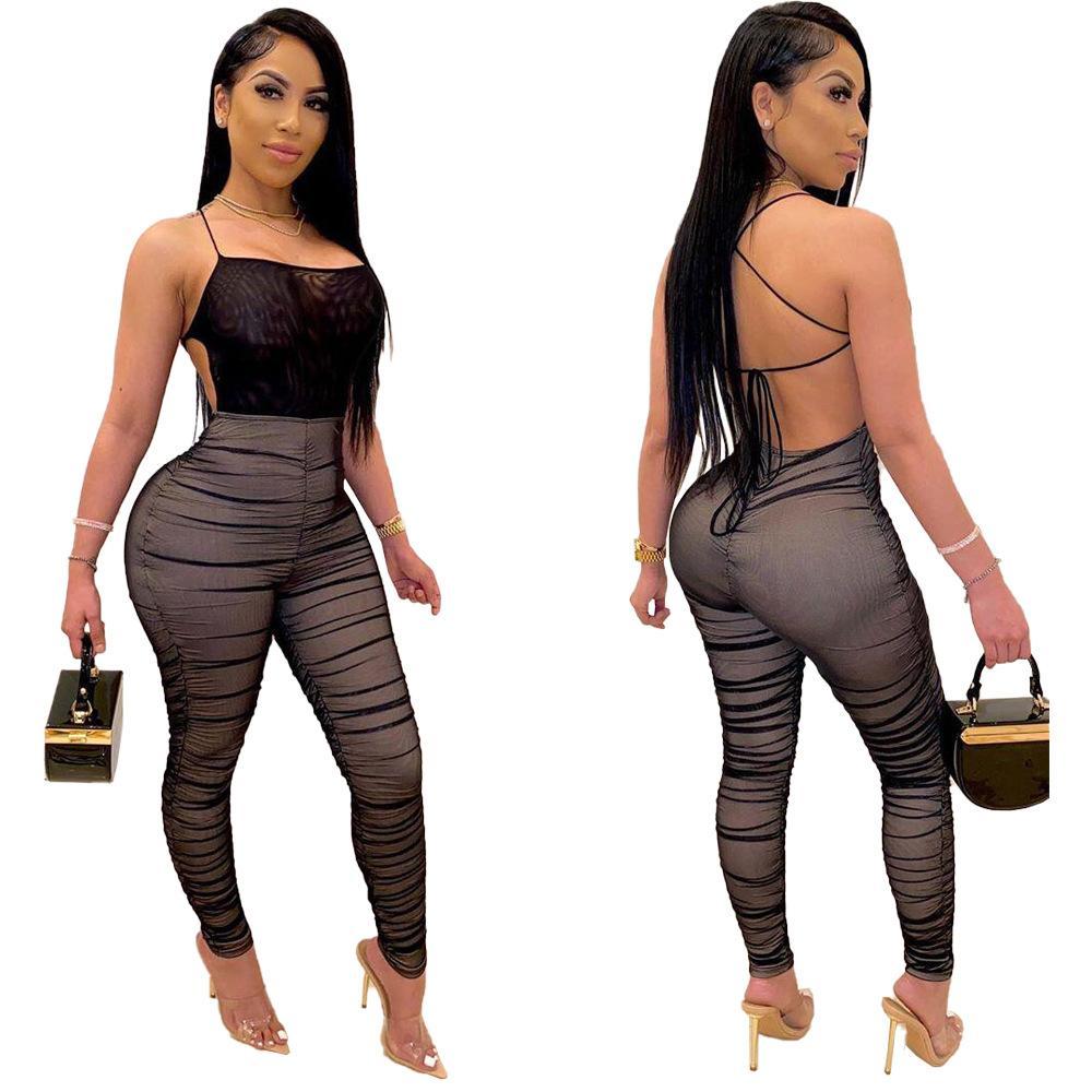 DN8358 2020 heißen Verkauf der europäisch und amerikanische Art und Weise Nachtclub reizvolle Frauen Mesh plissierten Overall