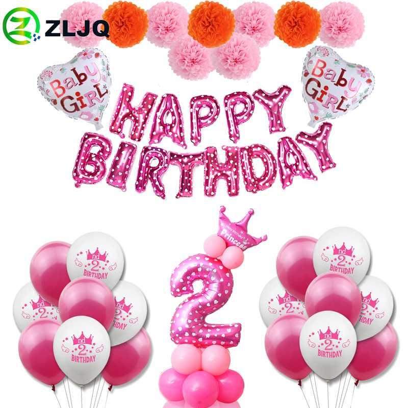 Zljq 2nd Birthday Girl Pink Party Decoration Second Number Balloon 2 Year Old Kids Two Year Birthday Party Supplies Boy Decor Christmas Party Decoration Christmas Party Decorations From Koics 8 29 Dhgate Com