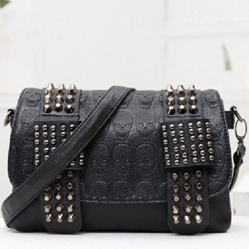 Mode-Punkniet-Leder Umhängetaschen Schultertasche für Frauen 2020 Handtaschen Gothic Female Bolsos Mujer YZhV #