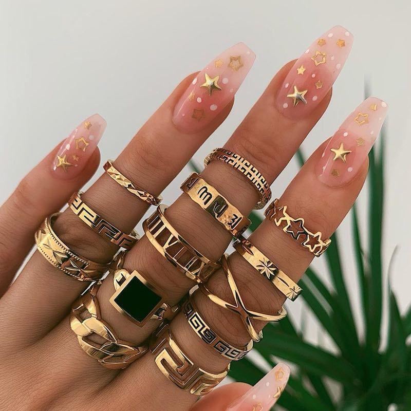 Мода преувеличенный панк стиль металлический кольцо звезды черные кольца 13 шт. За набор