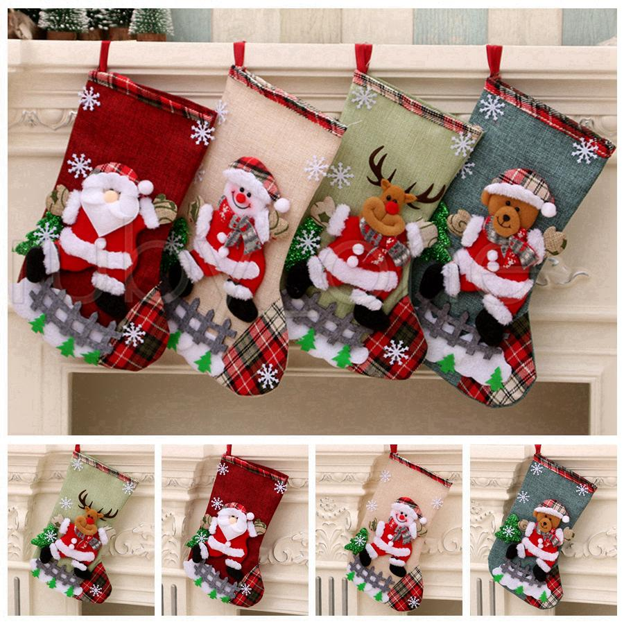 Bolsas de Navidad grande Medias muñeco de nieve de Santa Claus regalo del caramelo Los titulares de Navidad Calcetines cuelgan adornos de navidad decoraciones de RRA3525
