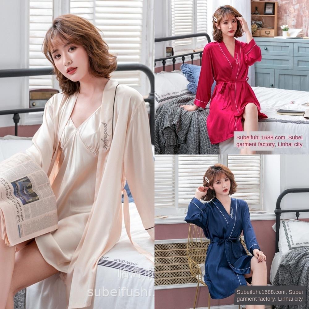 EEkkP X2h83 printemps Accueil vêtements pyjama de simulation et d'été Ice Silk Couple de femmes imitation des hommes de chemise de nuit et peignoir de soie sexy de longue