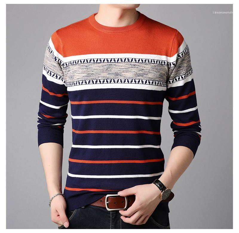 Hommes Automne Hiver rayé Polaires Chemises à manches longues Slim Pulls d'affaires ronde Casual cou Outwear Patchwork Pull Pulls Hommes
