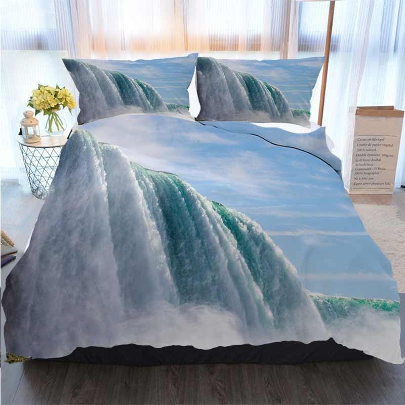 3D Printed С Рождеством Пододеяльник Niagara Fall Ландшафтный вид Главная Luxury Мягкое пуховое Одеяло Обложка