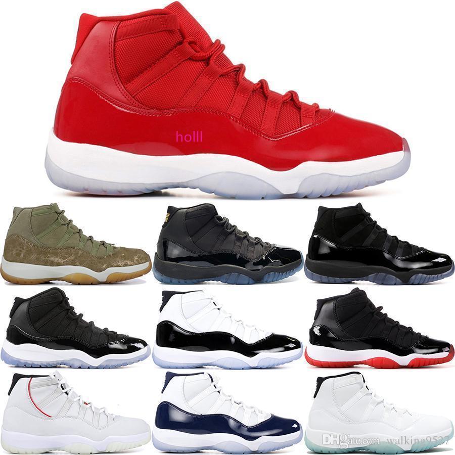 Hohe 11s 11 Space Jam Concord 45 Gamma Blue Men Basketball-Schuhe Olive Platinum Tint Kappe und des Kleides Bred Sport-Turnschuhe 5,5-13