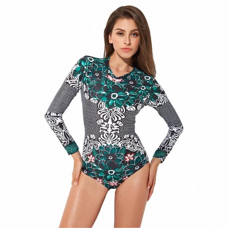 Trajes de manga larga Mujer Beach Rash guardias juegos de una pieza Verano trasera de la cremallera estampado de flores Surf traje de baño de baño ml2e #