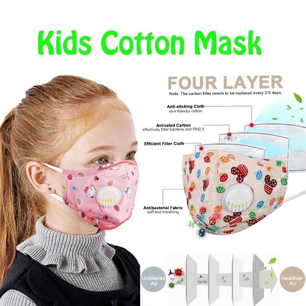 La respiration PM2,5 Valve respirante étanche à la poussière de coton lavable pour enfants Masque +2 Filtres
