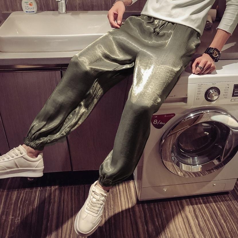 calças dos homens vermelhos líquidos tremendo rua som Moda saco ocasional pantsbundles pé calças até os tornozelos luz do verão solta reta coreano